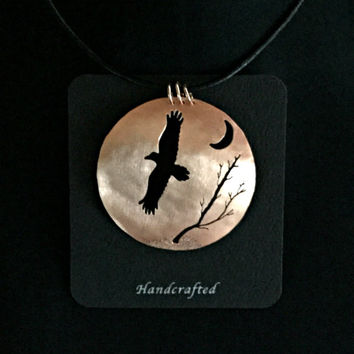 raven necklace, raven jewelry, crow necklace, crow jewelry, raven pendant, crow pendant, goth raven, raven moon, copper statement necklace