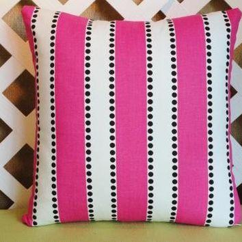 Stripe Pillow Cover in Hot Pink White and Black | JRsPillowsandBags - Housewares on ArtFire