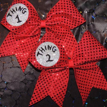 glitter thing 1 thing 2 cheer bow by BragAboutItCheerBows on Etsy