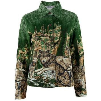 CREYCY8 Wolves In Nature Women's Button Up Long Sleeve T-Shirt