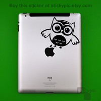 iPad - Owl a flutter Owl (Laptop Decal Removable Vinyl Laptop Sticker Computer Decal PC Apple Macbook Mac Geekery Wall Sticker Moustache)