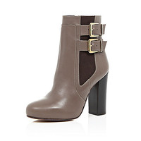 Beige leather buckle heeled ankle boots - ankle boots - shoes / boots - women