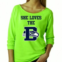 She LOVES The D Seahawks Sweater. Terry Raw Edge 3/4-Sleeve Raglan