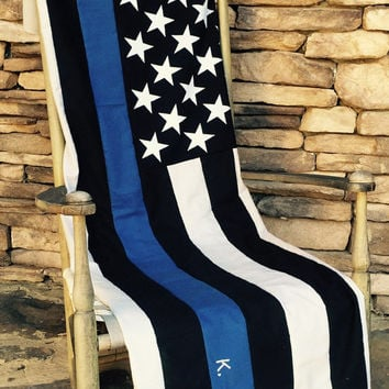Thin Blue Line - American Flag Quilt - Police Officer - Thin Blue Line Blanket-Throw-Quilt - Police Officer Gift - LEO Support-Police Quilt