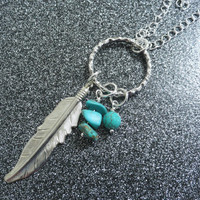 Large Silver Feather And Turquoise Gemstones Necklace