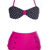 Black and Pink Polka Dot High-Waisted Swimsuit