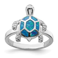 Sterling Silver Created Blue Opal Turtle Ring