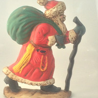 Cast Iron Santa Clause for Fireplace Mantle or Door Stop with Walking Stick and Green Bag Christmas Decoration