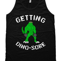Funny Workout Tank Getting Dino-Sore Weight Lifting Tank American Apparel Tank Training Clothes Gym Tank Fitness Unisex Mens Tank Top WT-175