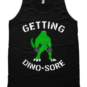 2a00f0102b02e Funny Workout Tank Getting Dino-Sore Weight Lifting Tank American Apparel Tank  Training Clothes Gym