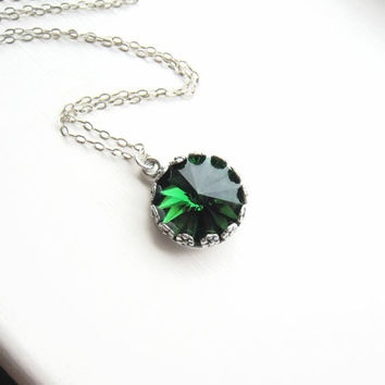 Swarovski Green Crystal Necklace Moss Green Crystal Necklace May Birthstone Sterling Silver Pendant Wedding Bridal Bridesmaids Gift Idea