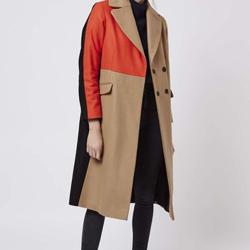 Colour Block Wool Blend Coat - Topshop