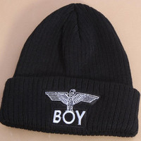 Winter Hat Boy London Eagle Knitted Wool Cap Embroidered Black Warm Hat For Boy and Girls