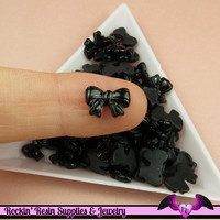 10 pcs Black BOW Nail Cabochons Tiny Nail Art Resin Flatback Cabochon