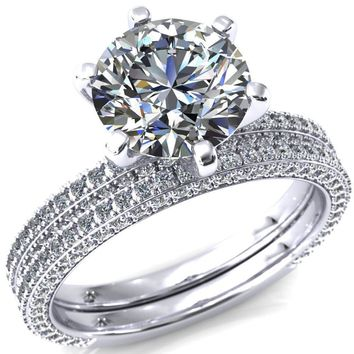Mariyah Round Moissanite 6 Prong 3/4 Eternity 3 Sided Diamond Shank Engagement Ring