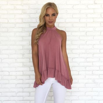 Soft Ruffle Top in Pink
