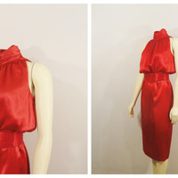 SALE Vintage Dress 70s 80s Jody California High Neck Belted Shiny Red Satin Dress Size 7/8 Modern Small to Medium