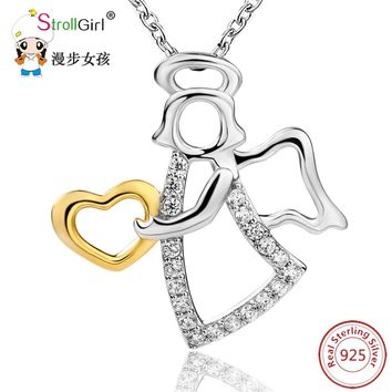 2018 Mother's days 925 Sterling Silver Chain Pendant Necklace Fashion Jewelry Angel With Gold Color Love Necklaces & Pendants