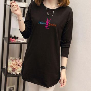 """Yves Saint Laurent"" Women Simple Casual Letter Print Long Sleeve Middle Long Section T-shirt Tops"