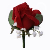 Red Silk Rose Boutonniere - Wedding Prom Boutonniere