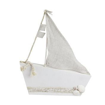 """11.5"""" White and Tan Cape Cod Inspired Ship with Sails Table Top Decoration"""
