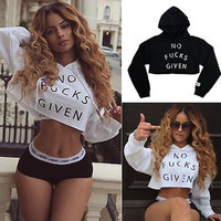 Fashion Women Ladies Hooded Short Sweatshirt Blouse Long Sleeve Hoodie Workout Crop Tops