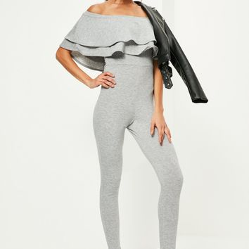 Missguided - Grey Loopback Bardot Frill Jumpsuit