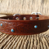 Old Western and Turquoise Leather Dog Collar