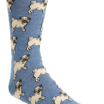 Men's Topman Pug Dog Pattern Socks - Blue