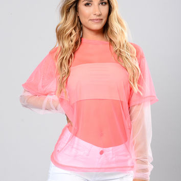Look At Me Tee - NeonPink/Blush