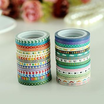 AAGU 3mm*5m Skinny Washi Tape Set 32 Patterns Cute Design Adhesive Tape Single Sided  Self Adhesive Masking Tape