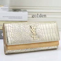 YSL Buckle Women Leather Purse Wallet Satchel Tote Handbag golden