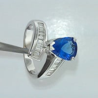 Bypass style ring. Ladies vintage 14K white gold genuine tanzanite and diamond ring. Pear shape TZ 2.11ct Dia 0.80ct