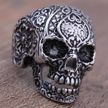 Hot Sale Stainless Steel Black Silver Gothic Punk Style Flower Skull Head Biker Ring For Men Fashion Skeleton Jewelry 2016(A114)