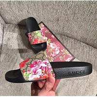 Gucci Trending Women Men Leisure Floral Letter Print Sandal Slipper Shoes I