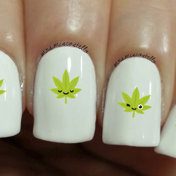 funny weed nail decals