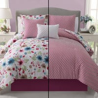 Girls Kids Bedding- Natalie Reversible Comforter Set- Pink/ Floral