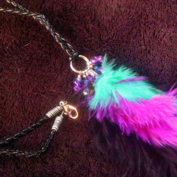 Boho Teal, Purple & Black Feather Cord Necklace