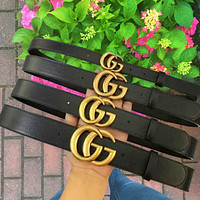 GUCCI Belt fashion hot style classic gold buckle lovers style belt Bronze Buckle