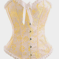 Yellow Strapless Ivory Brocade Boned Corset Bustier