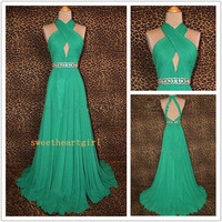 A-line Beads Chiffon Floor length sexy beautiful evening Prom Dresses