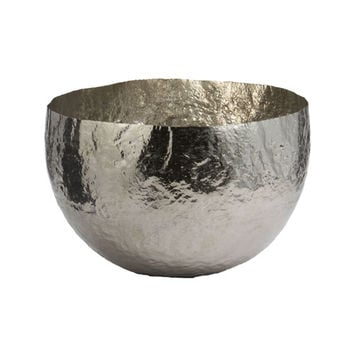 Lazy Susan 346018 Large Hammered Nickel-Plated Brass Bowl