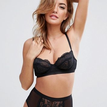 ASOS Ruby Mix & Match Picot Trim Lace Underwire Bra & High Waist Pant Set at asos.com