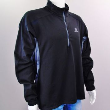 Salomon Advanced Skin Warm Trail Runner Zip Pullover Men 2XL Black Vented Jacket