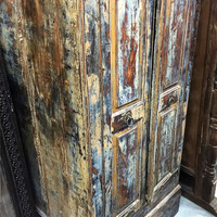 Antique Furniture Distressed Reclaimed Cabinet Indian Vintage Armoire