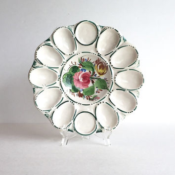Vintage Italian Hand Painted Deviled Egg Tray