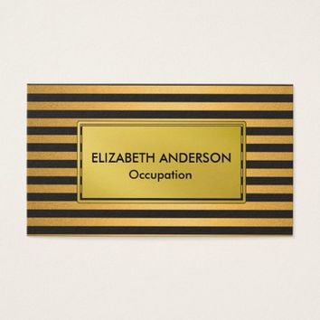 Glam Faux Gold and Black Stripes Business Card