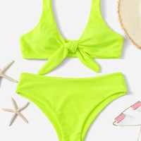 Neon Lime Knot Front Top With Panty Bikini