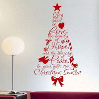 Spirit of Love Christmas Tree | Holiday Decal | Vinyl Wall Lettering