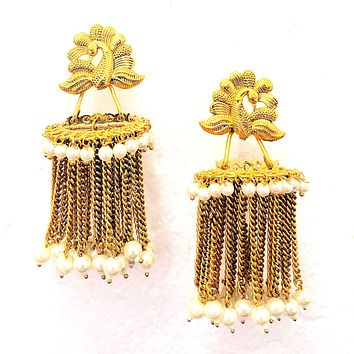 Unique Peacock stud Chandelier style Earring